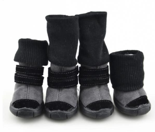 """Ботинки для собак зимние замшевые на липучке """"Petsoo"""" размер L (4)(5,5 см. длина*4,4 см. ширина)"""