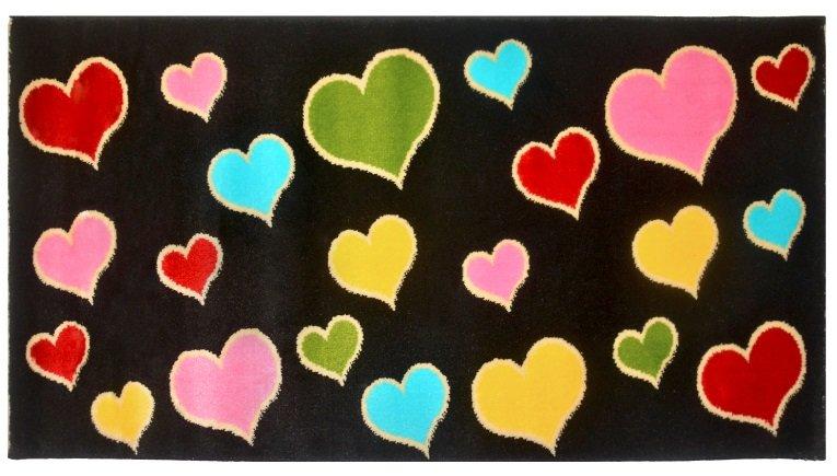 """Ковер """"Kamalak tekstil. Сердечки"""", 100x150 см (синий)"""