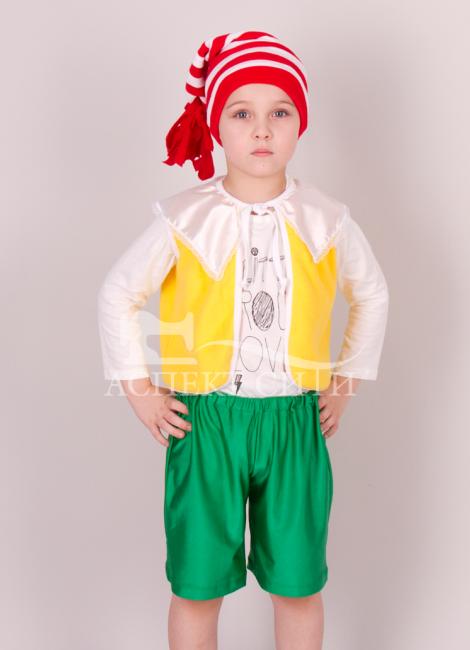 Детский карнавальный костюм Аспект-Сити Костюм Буратино детский (жилет, шорты, колпак)