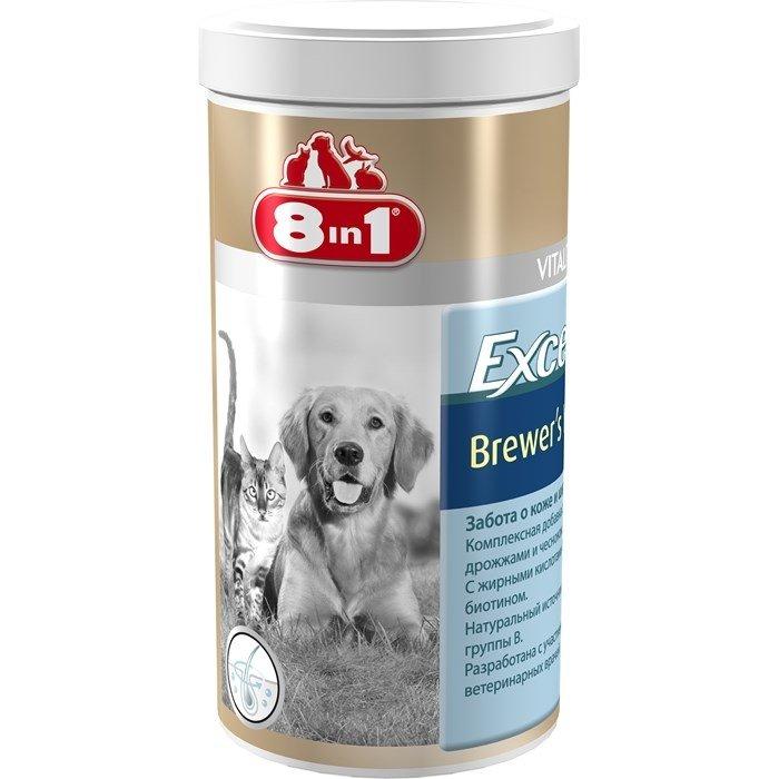 Пивные дрожжи для питания кожи и шерсти 8in1 EXCEL Brewers Yeast для кошек и собак, с чесноком, 1430 табл.