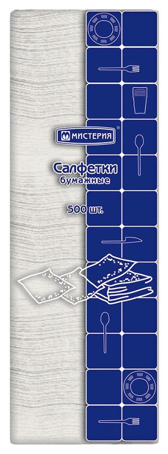 Салфетки Мистерия однослойные бумажные белые 500шт 24*24см