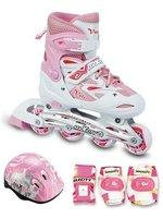 Набор ролики с защитой MaxCity VOLT Combo (розовый) светящиеся колеса (детские)