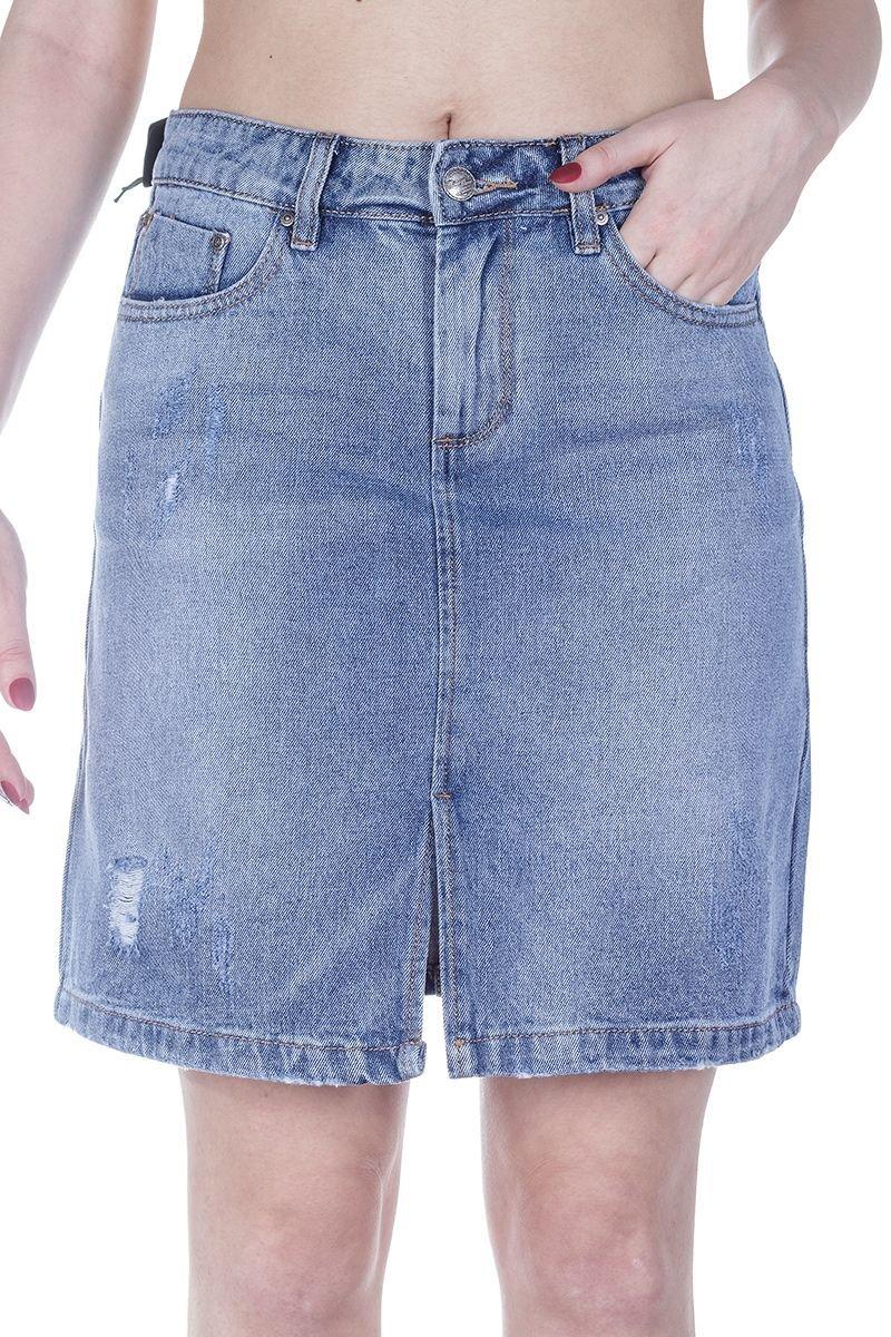 mossmore mr1063t-2 blue-2 синий юбка женская джинсовая
