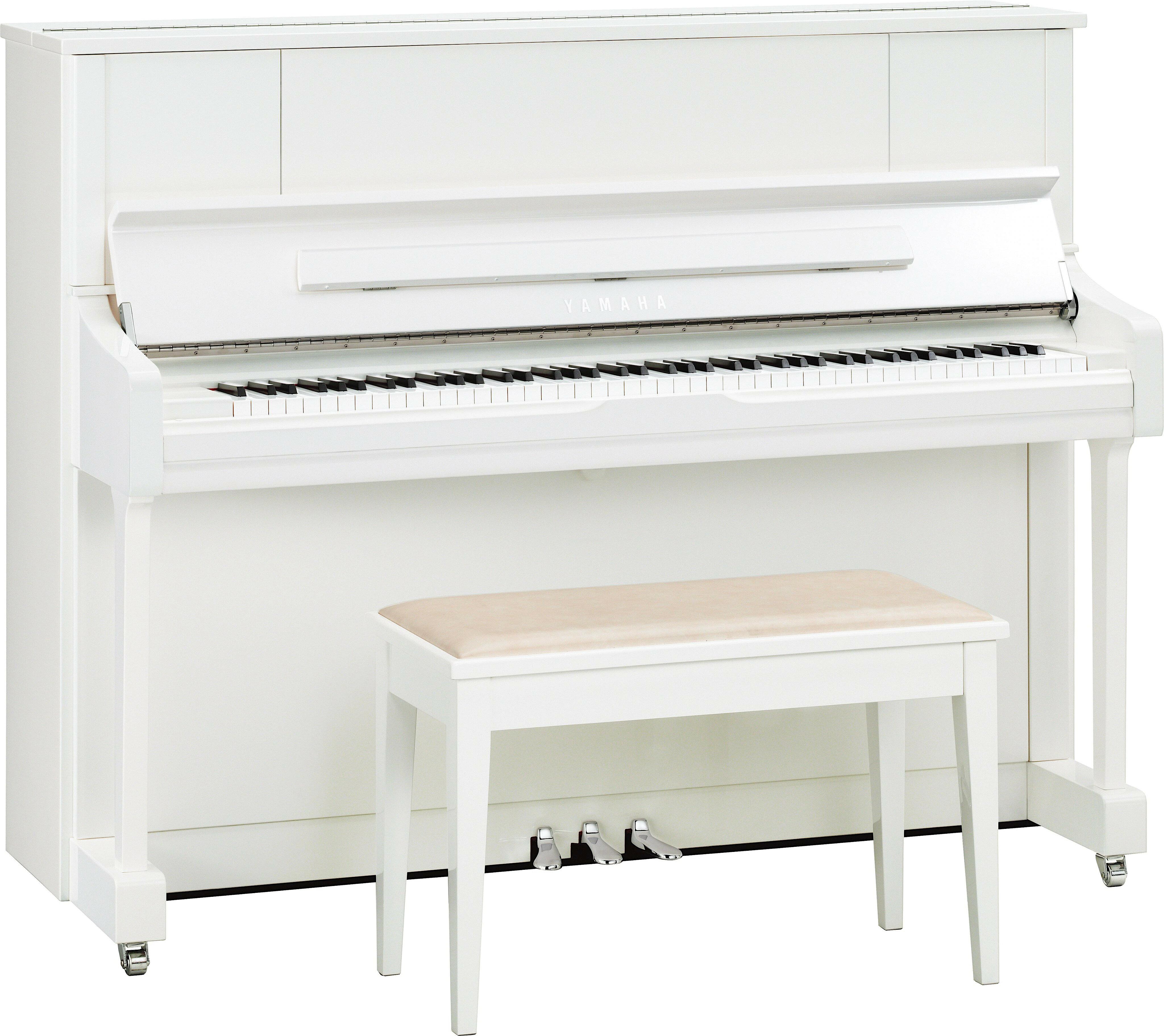 YAMAHA U1J PWHС, цвет белый полированный с хромированной фурнитурой (Акустические пианино)