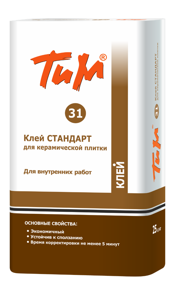Клей плиточный Технология и материалы ТИМ №31, Клей «СТАНДАРТ» для керамической плитки