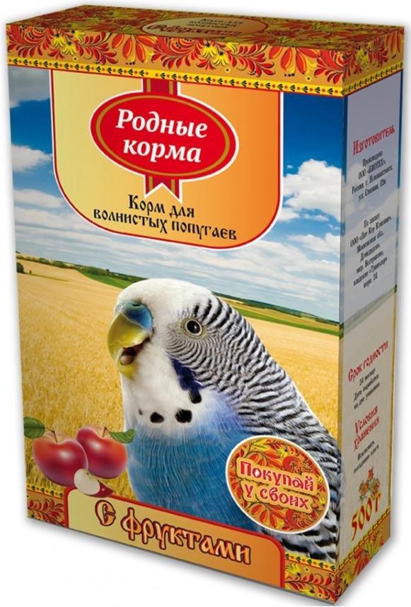 """Корм для волнистых попугаев """"Родные корма"""" с фруктами, 500 г"""