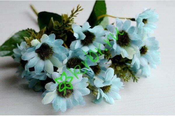 Ветка хризантемы Сантини голубая, 28 см, 15 бутонов по 3 см, ткань