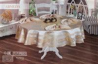Скатерть круглая с салфетками Афродита Monalit (бежевый), Круглая скатерть 160x160