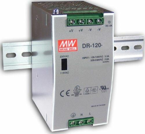 Преобразователь AC-DC сетевой Mean Well DR-120-48 источник питания 48В с универсальным входом от 85 до 264 В AC, мощность 120Вт / 2,5А, монтаж на DIN-
