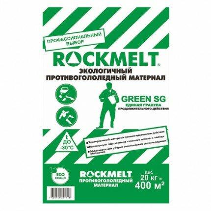 Противогололедный реагент Rockmelt Green SG, пакет 20 кг
