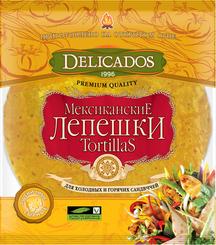 Лепешки Delicados Tortillas пшенич. сырные 400г продается по 10 шт.