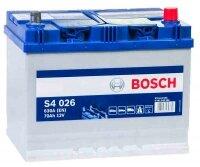 Аккумулятор автомобильный Bosch Asia Silver S4026 70 А/ч 630 A обр. пол. Азия авто (261x175x220) с бортиком