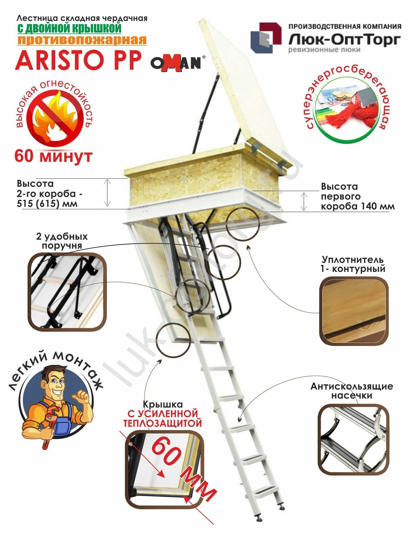 Чердачная противопожарная люк-лестница Oman ARISTO PP h=2400-3100 700 * 1400 (Ш * В)
