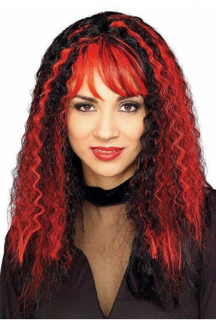 Красно-черный зловещий парик ведьмы