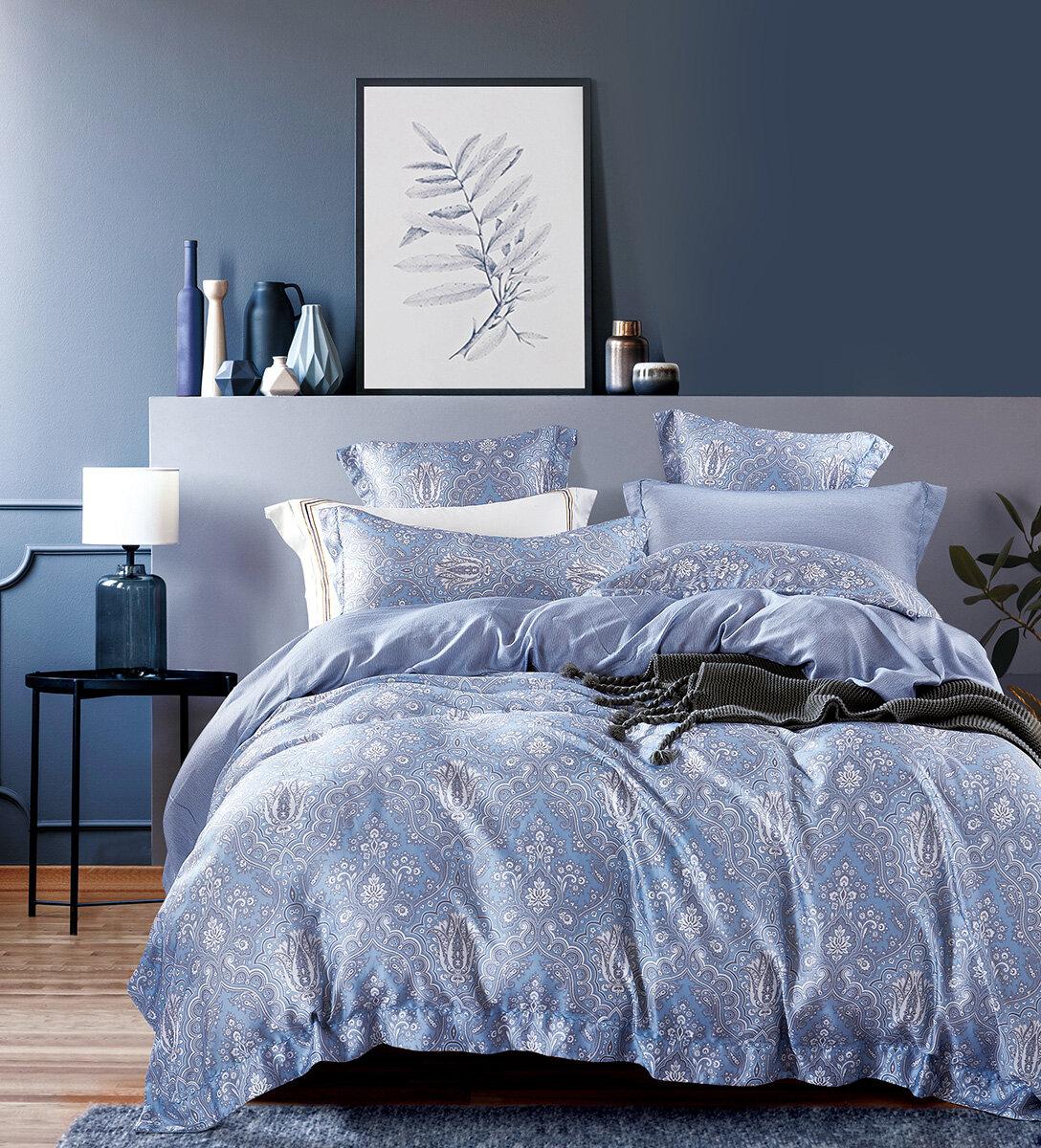 Постельное белье из тенселя TS-050 Сенди Elin (голубой), 1,5 спальный (наволочки 70x70)