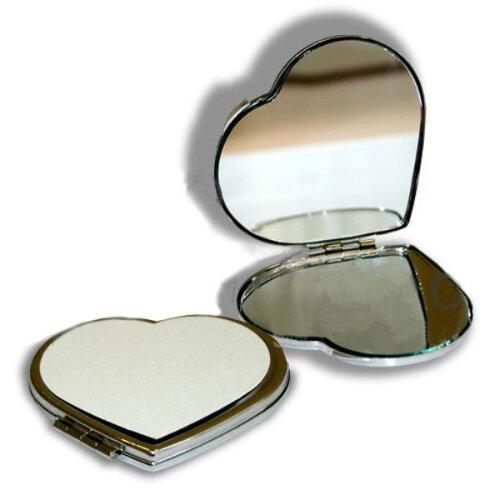 Зеркальце металлическое сердце для сублимации (70x65мм.)