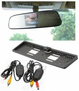 Камера автомобильная заднего вида беспроводная с монитором в зеркале MS-43m