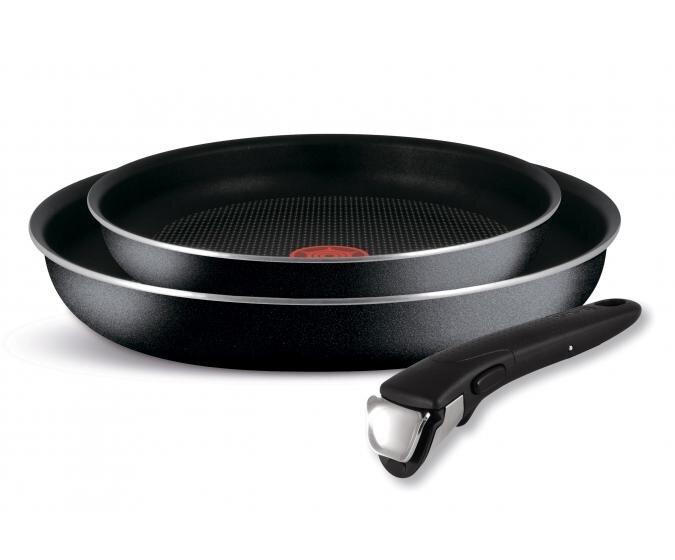 Набор сковород TEFAL INGENIO BLACK 22 см и 26 см, съемная ручка
