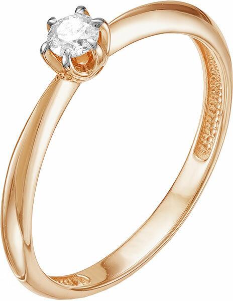 Золотое помолвочное кольцо Vesna jewelry 1041-151-00-00 с бриллиантом, размер 17,5 мм
