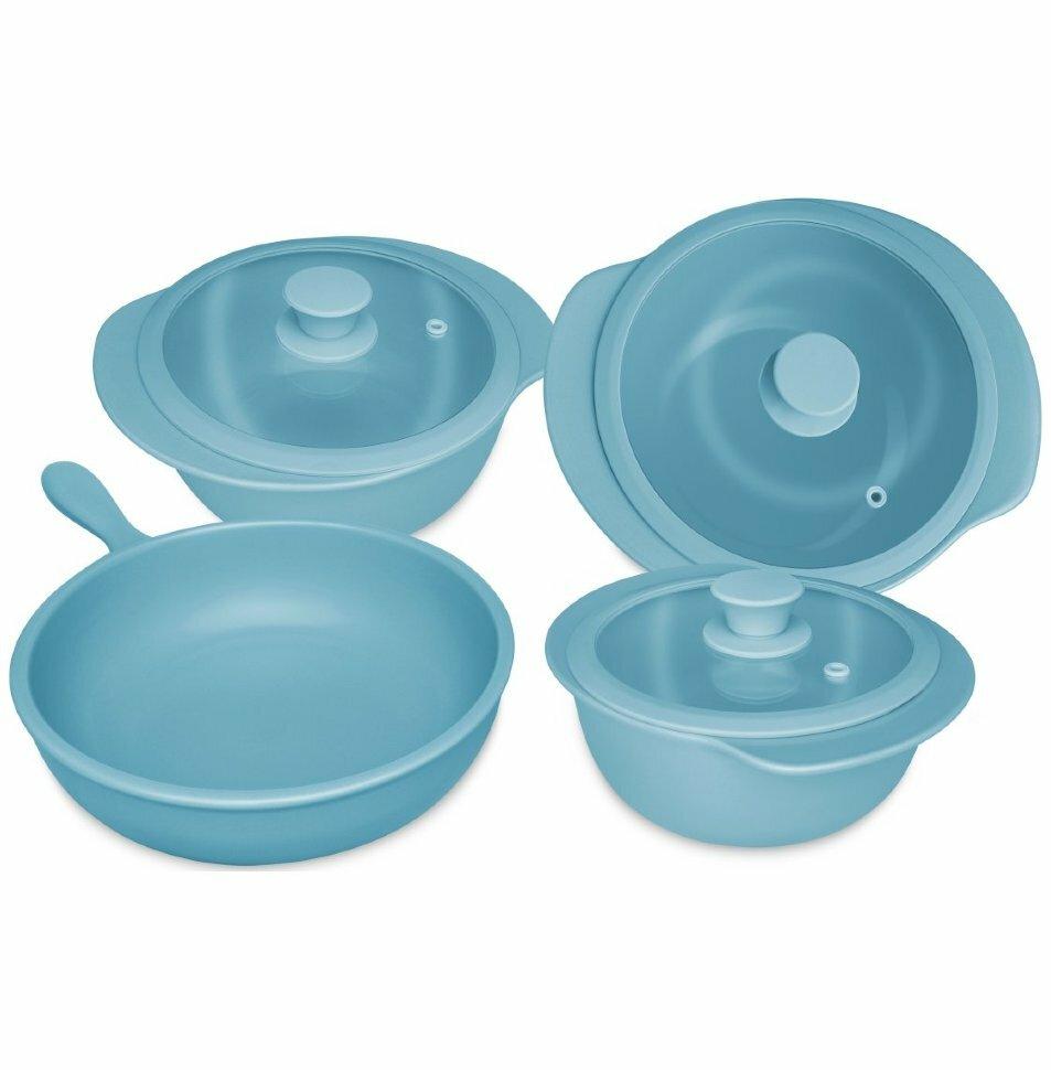 Набор посуды 4 предмета (3 кастрюли с крышками, сотейник)