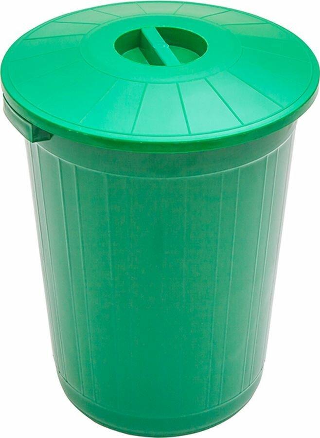 Мусорный бак Элластик-Пласт, с крышкой, зеленый, 50 л