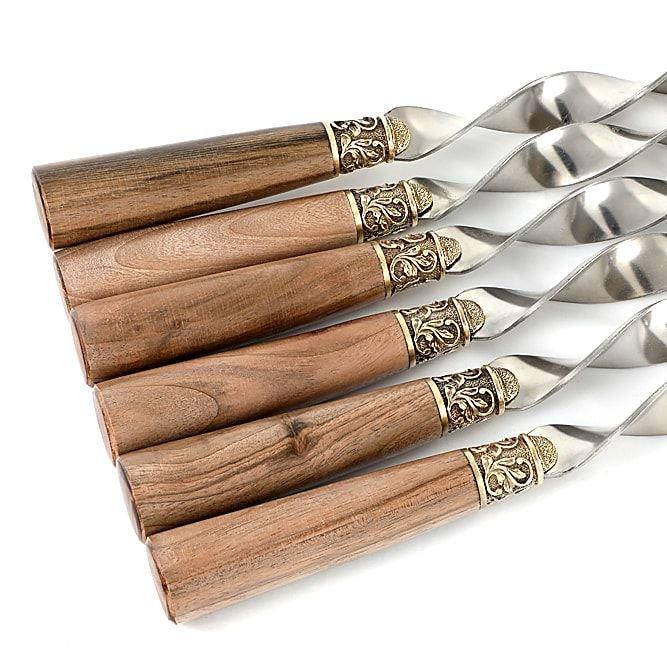 Подарочные шампуры с ореховой рукоятью