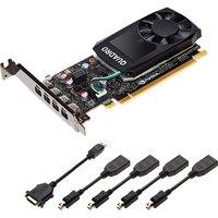 Видеокарта PNY GeForce Quadro P1000 PCI-E 3.0 4096Mb 128 bit (4 переходника с mDP на DisplayPort) OEM (VCQP1000BLK-1)
