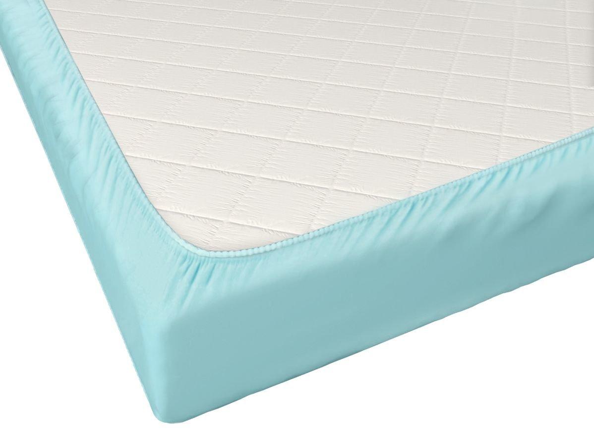 Простыня на резинке Промтекс-Ориент голубая 140x190 см