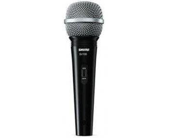 SHURE SV100-A микрофон динамический вокально-речевой с выключателем и кабелем (XLR-6.3 мм JACK), черный, серебристая сетка