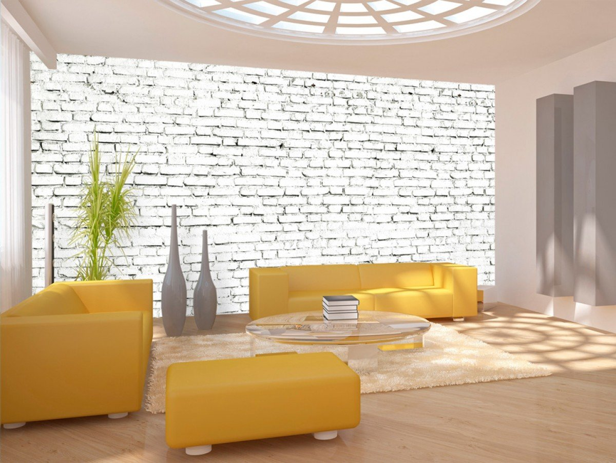 Фотообои «Стены из белого кирпича», 150x74 см