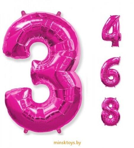 Шар гелиевый цифра - 'Фуксия' 40'' (85 см.)
