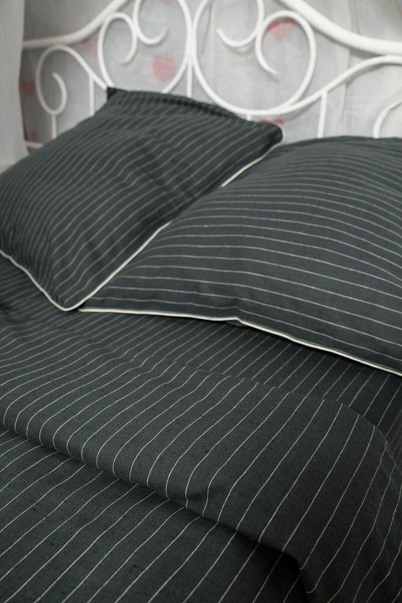 Комплект постельного белья Гаврилов-Ямский Лен 802, 1,5 спальное, Лен, Хлопок, наволочки 70x70, черный