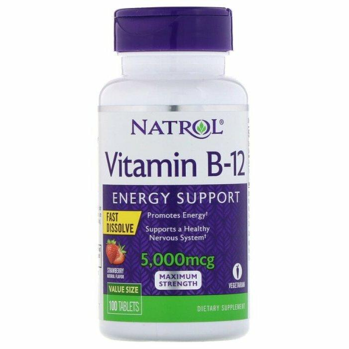 Витамины и Минералы Natrol, Vitamin B-12, 100 таблеток, Клубника