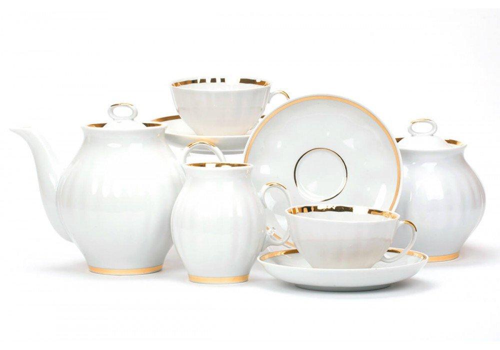 Сервиз чайный Дулево Белый лебедь Цветение, 15 предметов