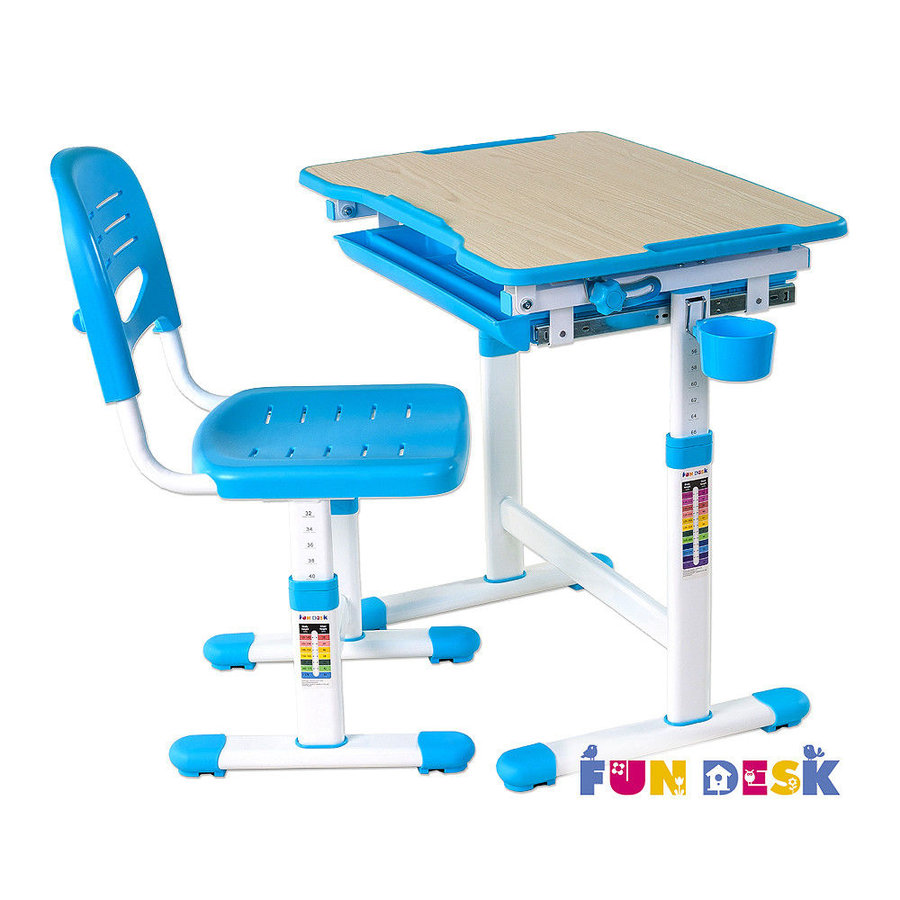 Растущая парта и стул FunDesk Piccolino Голубой