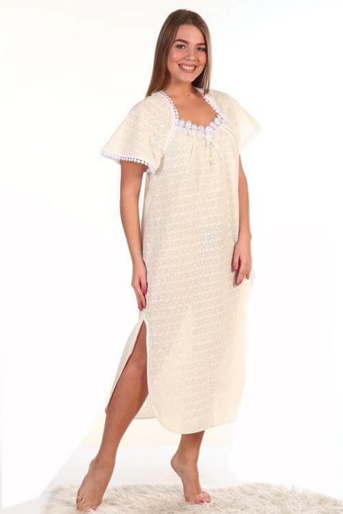 Сорочка ночная женская лёгкая батист 437 модель шампань 60 размер -