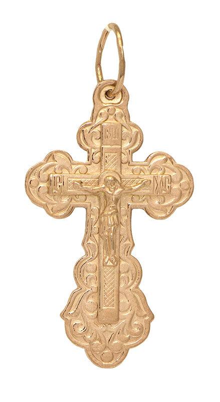 Крест нательный, серебро, позолота красная 585, Ag 935