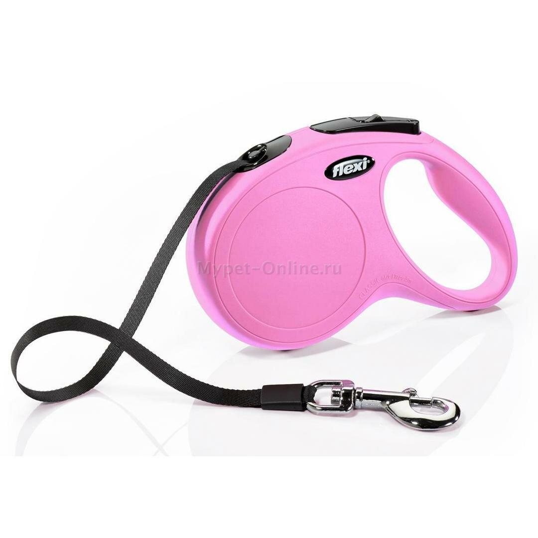 Поводок-рулетка для собак Flexi New Classic M, розовый