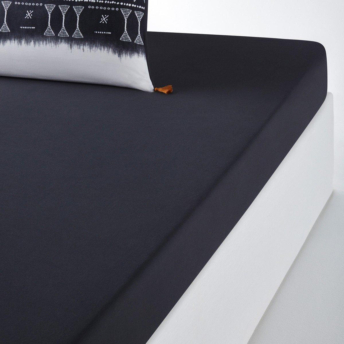 Простыня La Redoute Натяжная из осветленного хлопка YORUBA 180 x 200 см серый