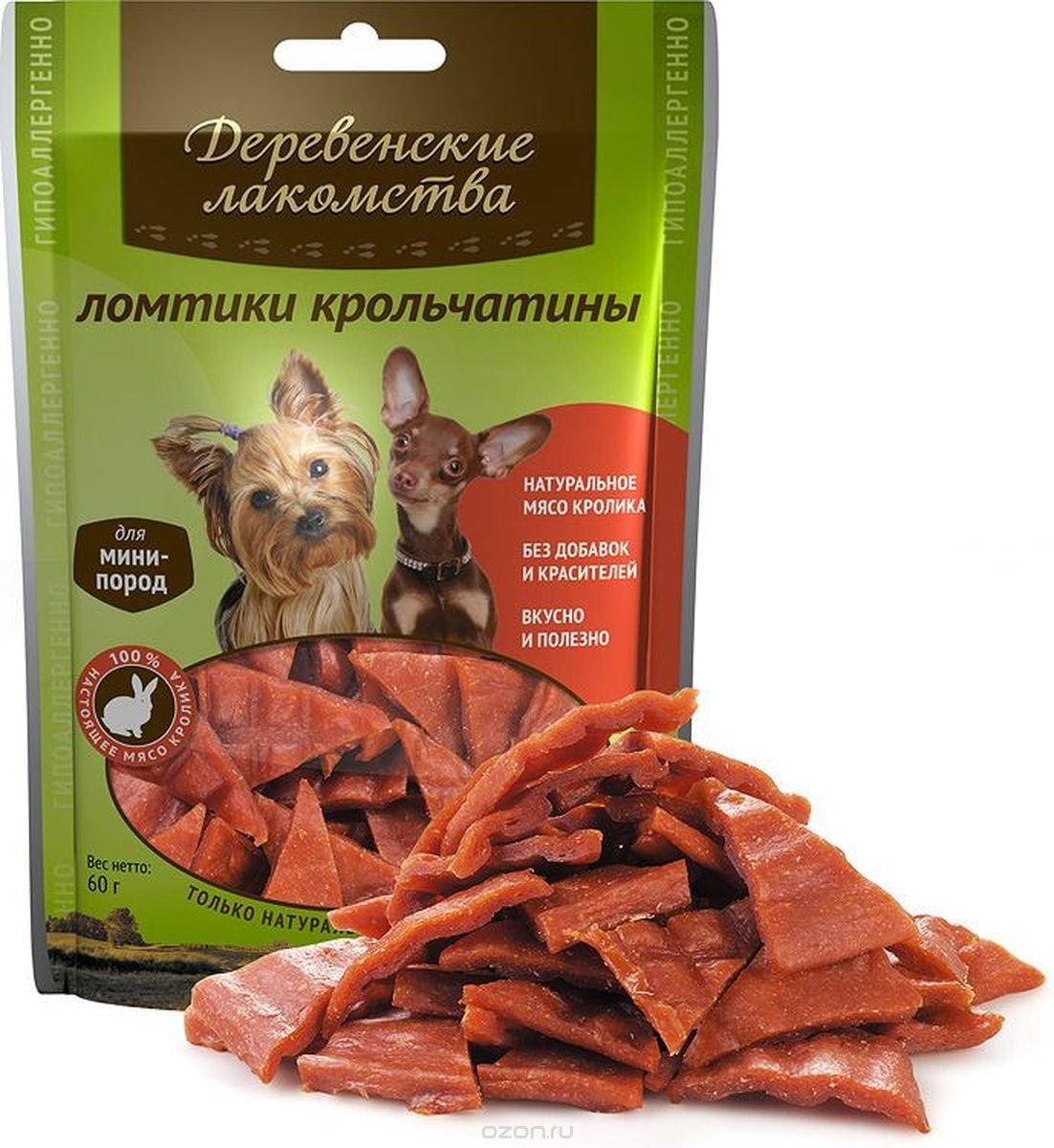 Деревенские Лакомства для собак малых пород. Ломтики крольчатины, взрослые, 55 г