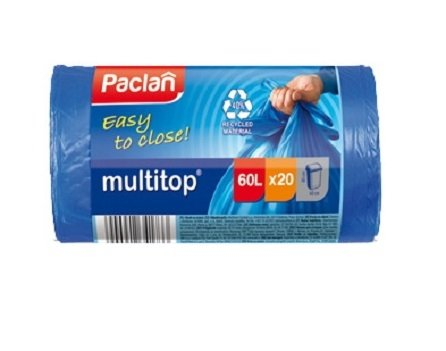 Пакеты для мусора PACLAN MULTI-TOP 60л, 20шт., (ПВД) синие