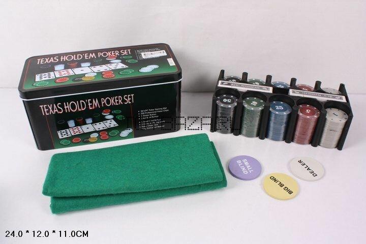 Разные игрушки. 0893 Покер набор 200 фишек с номиналом, карты, сукно с игровым полем