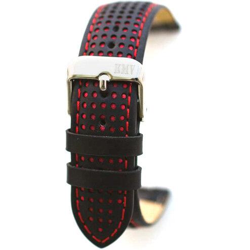 Ремешок для часов 22 мм, чёрный с красной строчкой KMV