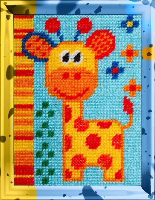 """Набор для вышивания с пряжей Bambini арт. 2271 """"Жираф"""" 15х20см"""