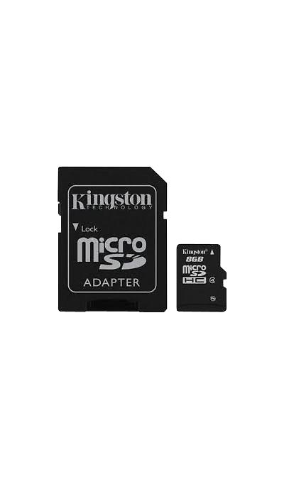 Карта памяти Kingston Technology MicroSD HC 8 ГБ class 4 (с адаптером)