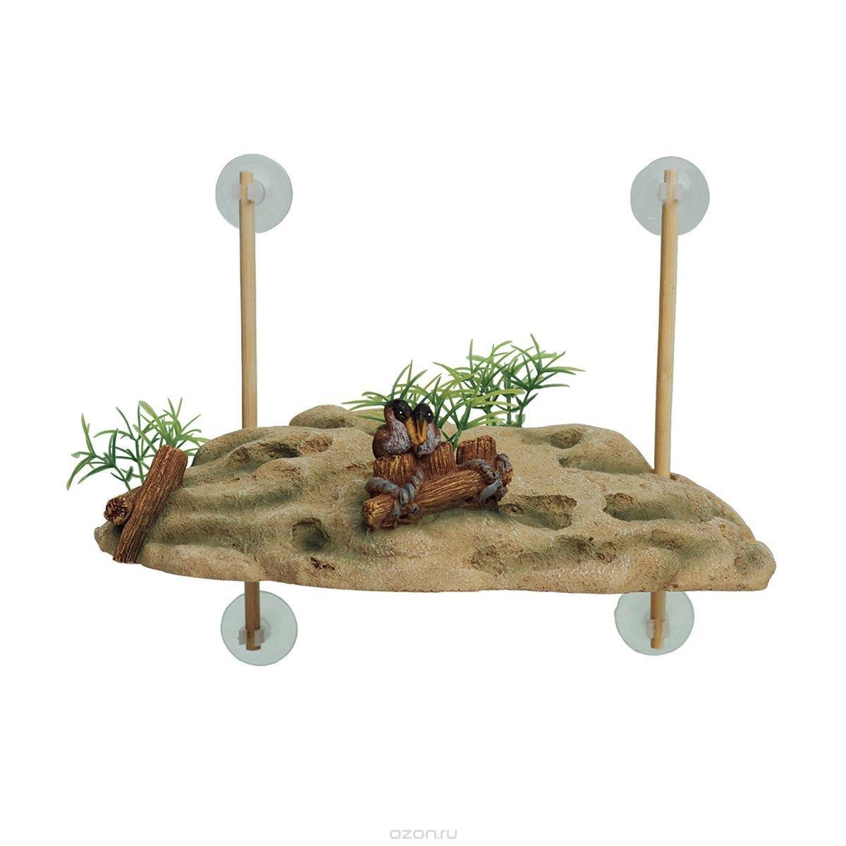 "Декорация для аквариума ArtUniq ""Островок для черепах"", на присосках, 24,5 x 11,5 x 7,5 см"