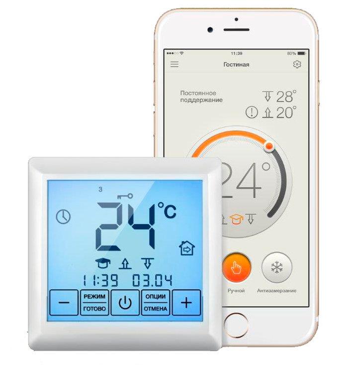 Терморегулятор с Wi-Fi управлением встраиваемый для теплых полов Теплолюкс MCS-350