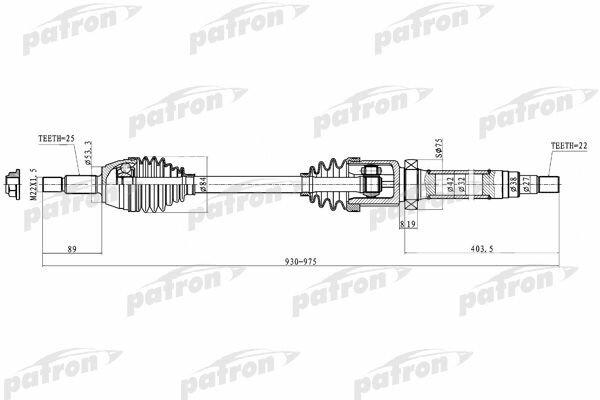 Полуось правая 25x930x53,3x22 FORD: FIESTA V 01-, FUSION 02 PATRON PDS0222