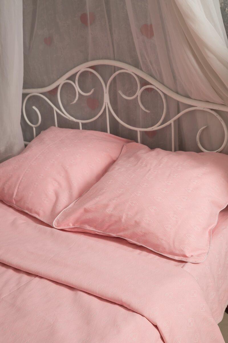 Комплект постельного белья Гаврилов-Ямский Лен 801, 1,5 спальное, Лен, Хлопок, наволочки 70x70, розовый