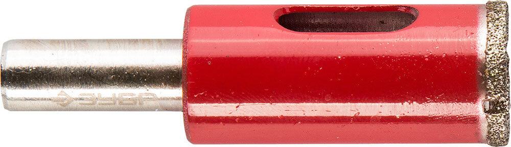 Сверло алмазное трубчатое по кафелю и стеклу, d=16 мм, зерно Р 60, ЗУБР Профессионал 29850-16